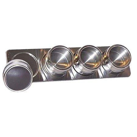 Kit Porta Temperos E Condimentos Em Aço Inox Magnetico Metalizado Para Cozinha (Ixb0109)