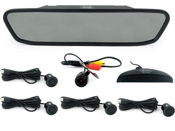 Kit Câmera De Ré Com Retrovisor Lcd 4.3 Colorido E Sensor De Estacionamento