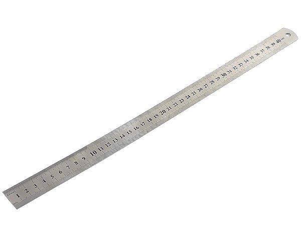 Régua Metal Inoxidável Marcação De Baixo Relevo Uso Escolar Escritório Engenheiro Profissional 40 cm