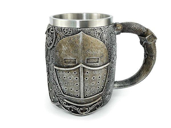 Caneca Cavaleiro Medieval Chopp Cerveja Com Alça 450ml Copo Decorativo em Metal e Resina