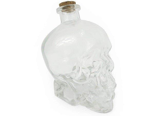 Garrafa de Vidro Formato Cranio Caveira Com Tampa Rolha Resistente 750ml