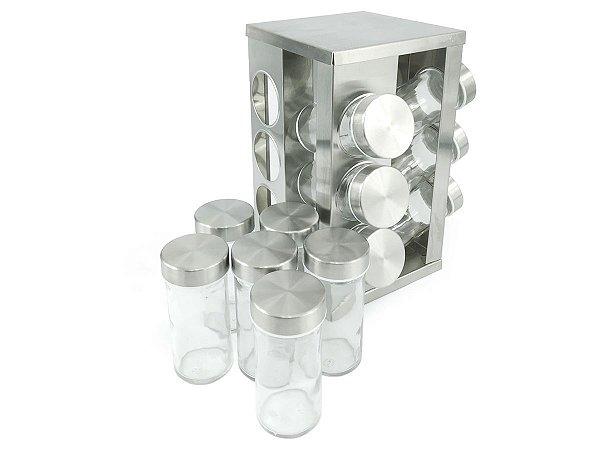 Porta Condimentos Em Aço Inox Com 12 Potes De Vidro e Base Giratório