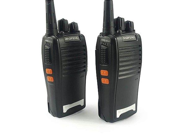 Kit 2 Walkie Talkie Rádio Comunicador Profissional Baofeng BF777S Fone de Ouvido 16 Canais Rádio FM
