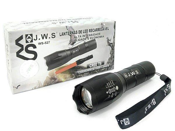 Lanterna Tática Compacta Operação Policial Ws-527 Led T6 Longo Alcance Recarregável