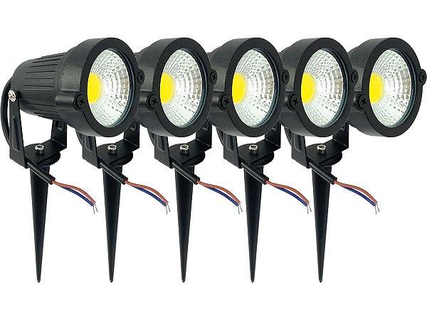 Kit 5 Spot Luminária P/ Jardim Baixo Consumo De Energia 7w