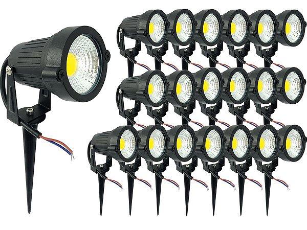Kit 20 Luminária Spot Luz Led De Alto Brilho 7w 110v/220v  Acompanha Os Espeto De Jardim