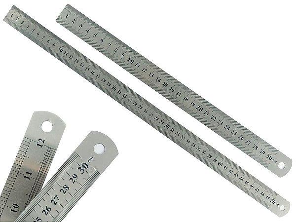 Kit Com 2 Réguas Metal Leve De Aço Inoxidável Tamanho 30 e 50 cm Marcação Baixo Relevo Escolar Escritório Engenheiro
