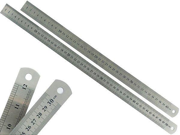 Kit Com 2 Régua Metal Inoxidável Marcação De Baixo Relevo Uso Escolar Escritório Engenheiro Profissional 40 e 50 cm