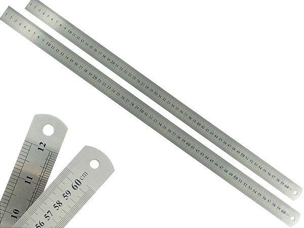 Kit 2 Réguas Rígida Metal Inoxidável Escritório Escolar Engenheiro Maquetes Marcação Baixo Relevo 60 cm