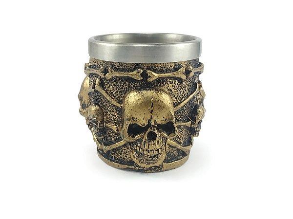 Copo Para Dose Shot Em Aço Inox Resina Modelo 6 Caveiras Decorativo Colecionável Tequila Whisky Vodka