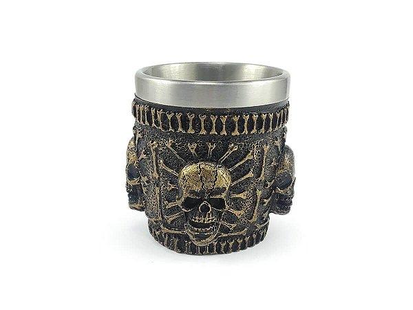 Copo Shot Dose Em Aço Inox Resina Modelo 4 Caveiras Colecionável Decorativo Tequila Whisky Vodka