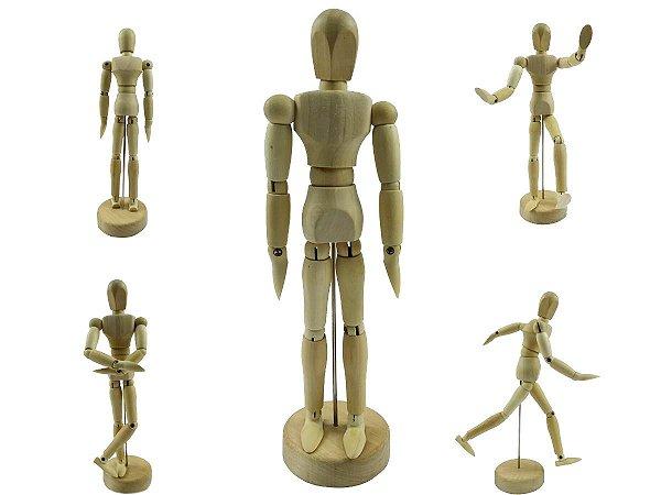 Boneco Articulado Madeira Clara 20cm Para Moda Arte Mangá Manequim