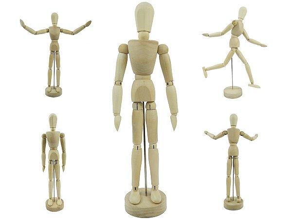 Boneco Articulado Grande 30cm De Madeira Modelo Humano Desenhos Moda Arte