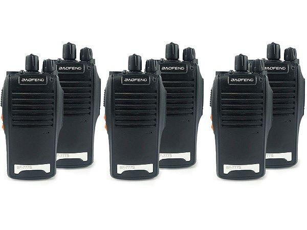 Kit 6 Walkie Talkie Rádio Comunicador Profissional Baofeng BF777S Fone de Ouvido 16 Canais Rádio FM
