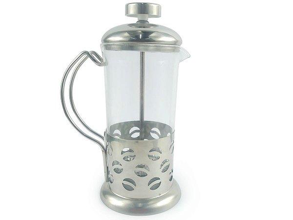 Cafeteira Prensa Francesa Cremeira 600ml De Vidro e Aço Inox Para Café Chá Livon Coffee Luxo