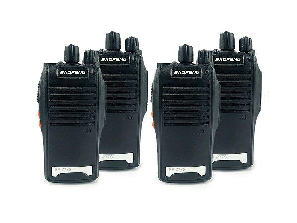 Kit 4 Walkie Talkie Rádio Comunicador Profissional Baofeng BF777S Fone de Ouvido 16 Canais Rádio FM
