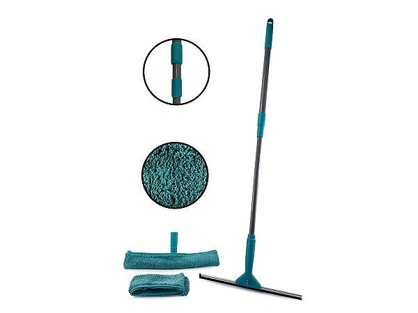 Mop Multiuso Rodo Limpa Vidros Janelas Com Cabo Extensível Em Inox Até 1,30m Limpa Fácil