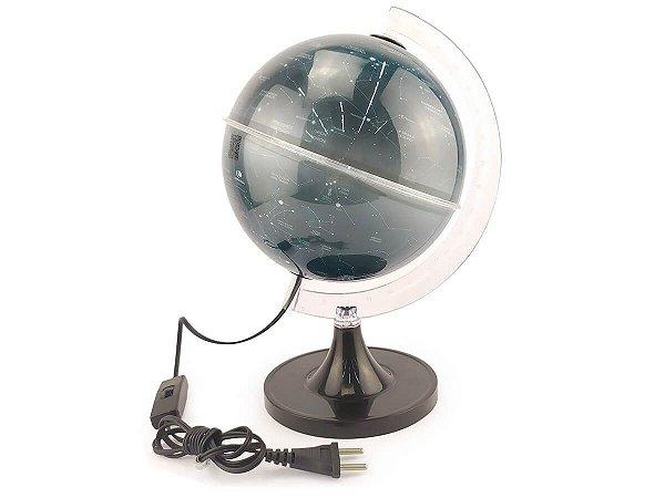 Globo Celeste 88 Constelações Decorativo Iluminado 21cm Com Luz De Led Branco Base Preta Luminária Abajur