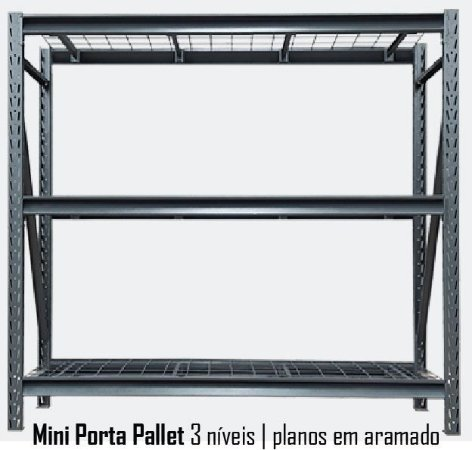 Mini Porta Pallets - 3 Planos Aramados