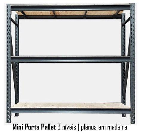 Mini Porta Pallets - 3 Planos em Madeira