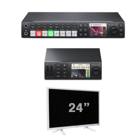 BLACKMAGIC ATEM STUDIO HD + GRAVADOR HYPERDECK + MONITOR 24