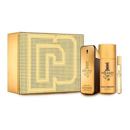Kit 1 Million Paco Rabanne  EDT 100ml + Desodorante 150ml + Travel Size 10ml