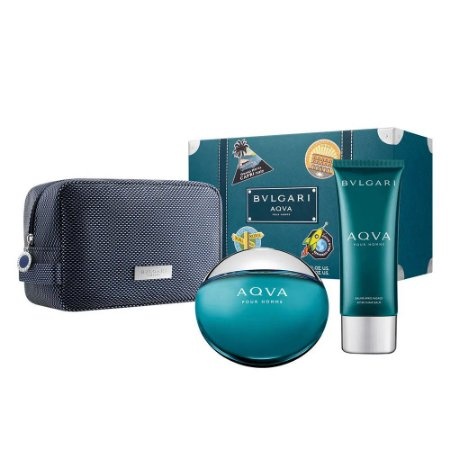 BVLGARI KIT AQVA +AFTER SHAVE+POUCH EDT MASCULINO