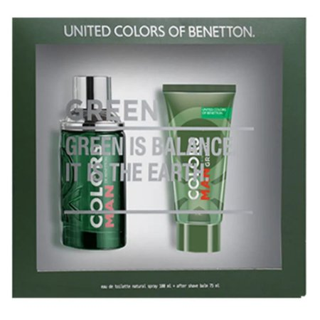 BENETTON KIT COLORS GREEN+AFTER SHAVE EDT MASCULINO