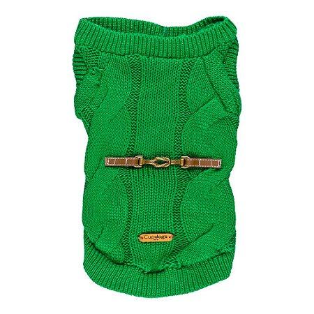 Casaquinho de trico trançado verde bandeira