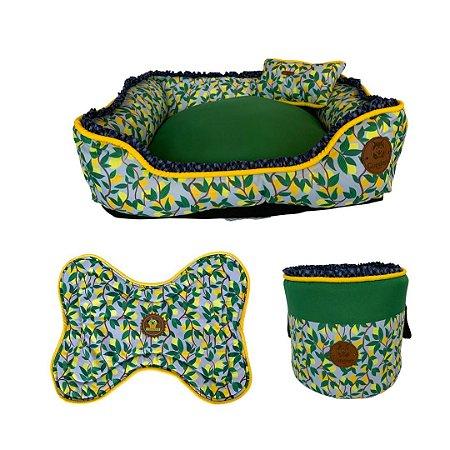 kit de cama, cesto brinquedos e tapete comedouro  limão siciliano