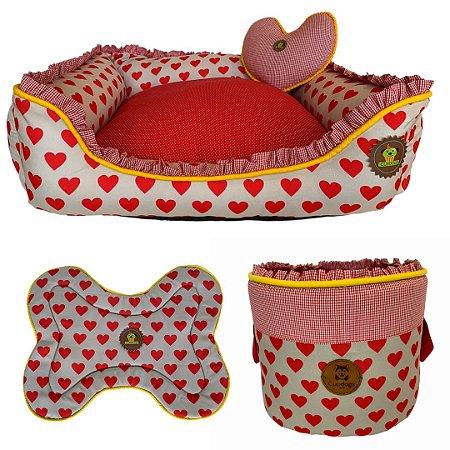 kit de cama, cesto brinquedos e tapete comedouro LOVE