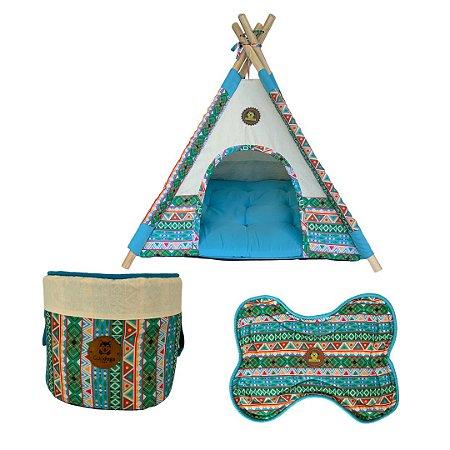 Kit cabana, cesto de brinquedos e tapete para comedouro estampa tribal