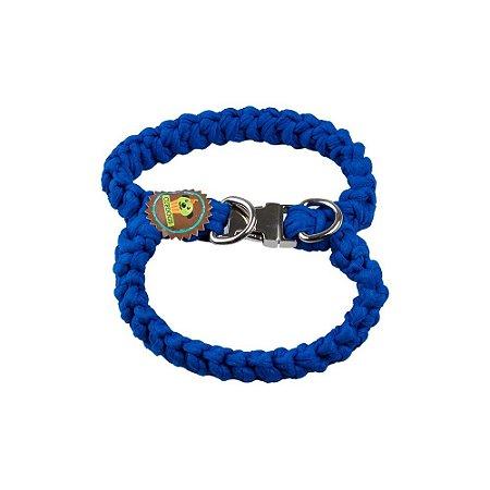 Peitoral fio de malha azul hortência