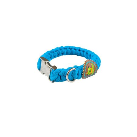 Coleira fio de malha azul turquesa