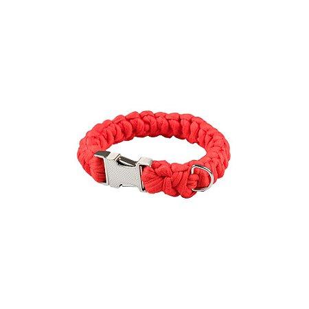 coleira de fio de malha vermelha