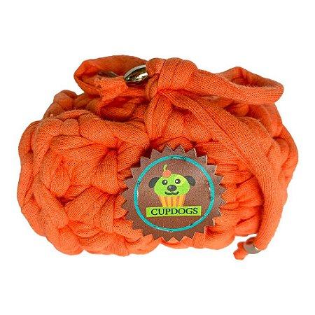 porta- sacos em fio de malha laranja