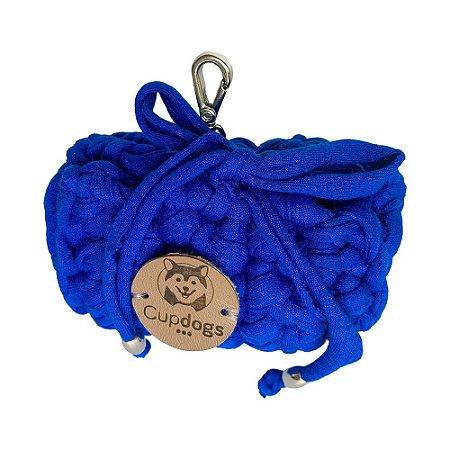 porta- sacos em fio de malha azul royal