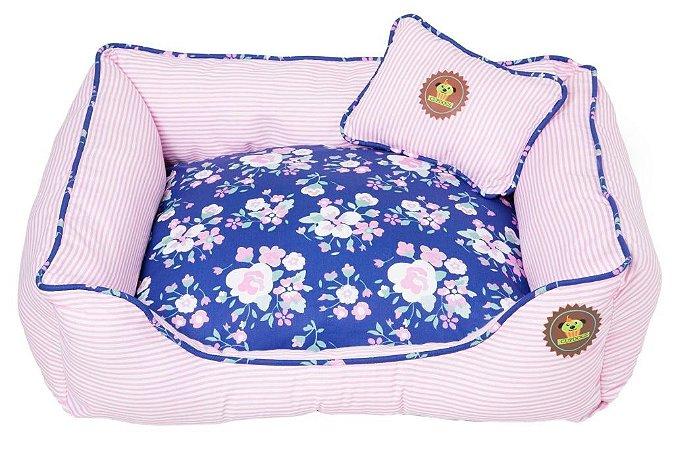 Cama listras rosa bb com floral royal