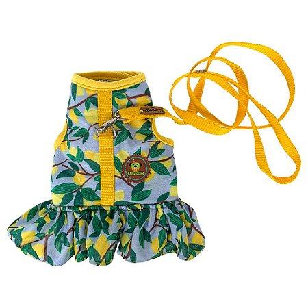 Peitoral vestido estampa limão  + guia