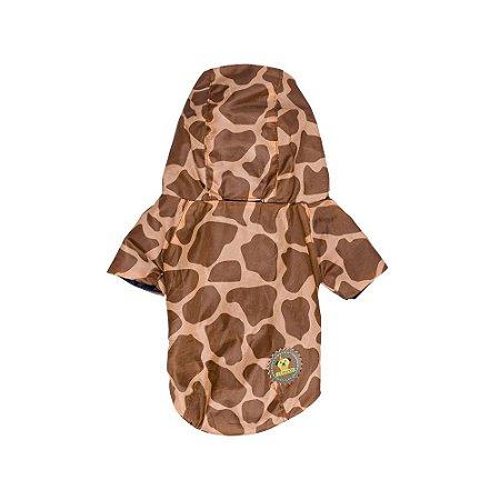 Capa de chuva estampa girafa marrom