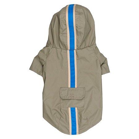 Capa de chuva pets caqui com galão azul e bolso