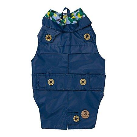Trench coat pet azul marinho  com limão siciliano