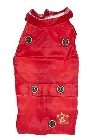 Trench coat pet vermelho com xadrez  branco e vermelho