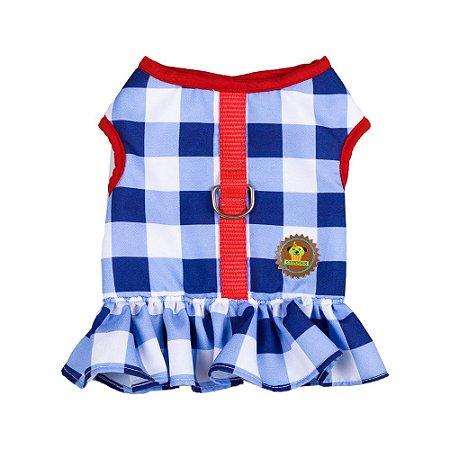 Vestido peitoral estampa navy