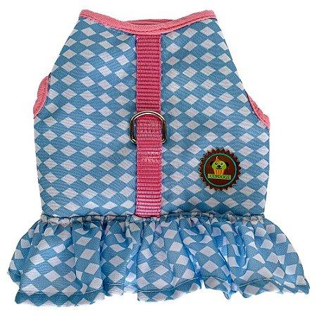 Peitoral  vestido estampa losangos branco e azul