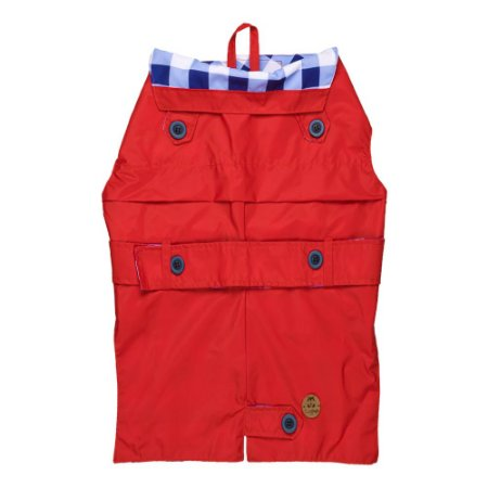 Trench coat pet vermelho com Xadrez navy