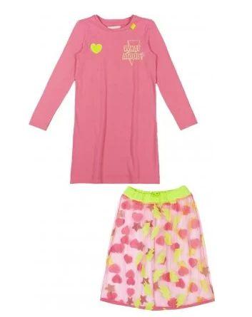 Vestido Rosa Manga Longa com saia Neon - Animê