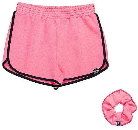 Shorts Moletom Rosa Neon com Amarrador - IAM AUTHORIA