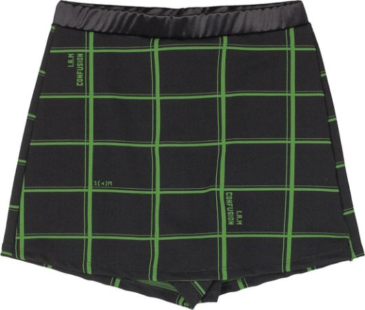 Shorts Saia Xadrez Preto com Verde Neon - IAM AUTHORIA