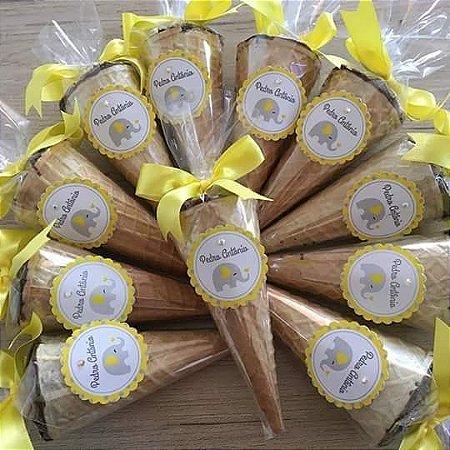 Cone Trufado (mini) c/ Chocolate Belga - PERSONALIZADO - 30 unidades